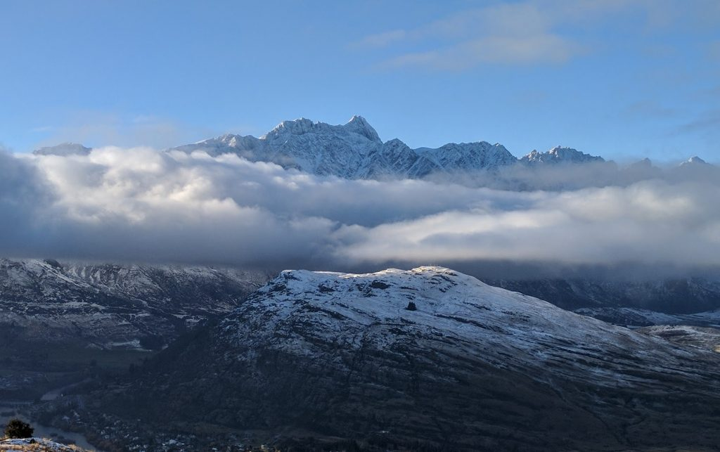 The Remarkables behind cloud, Queenstown, NZ