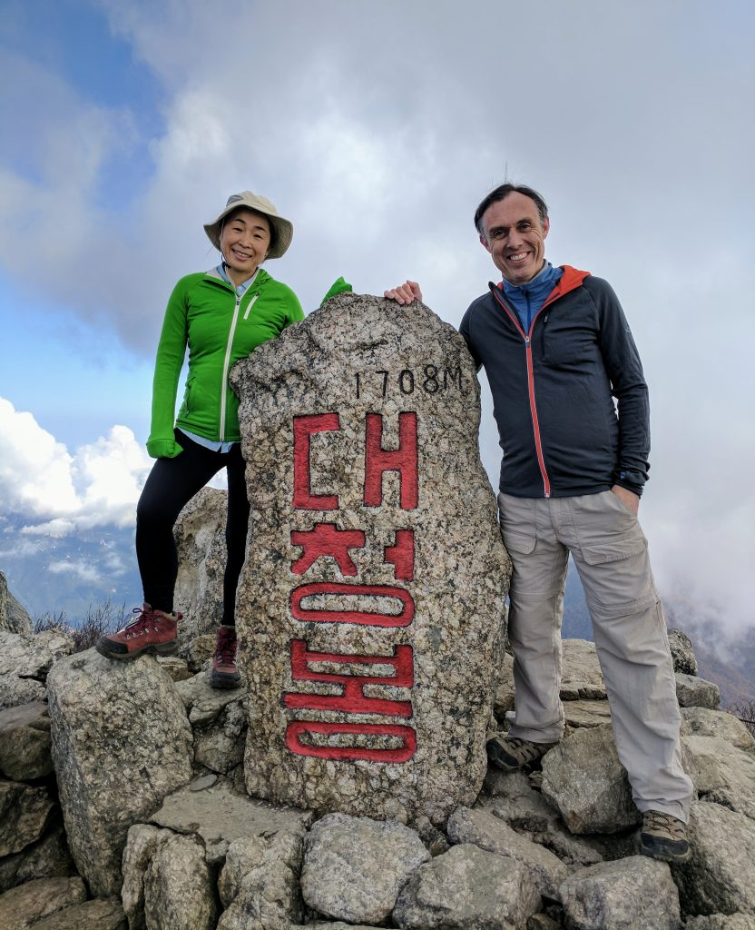 Sophia and me on Daechonbong (1708m), the highest peak in Soraeksan National Park, South Korea.