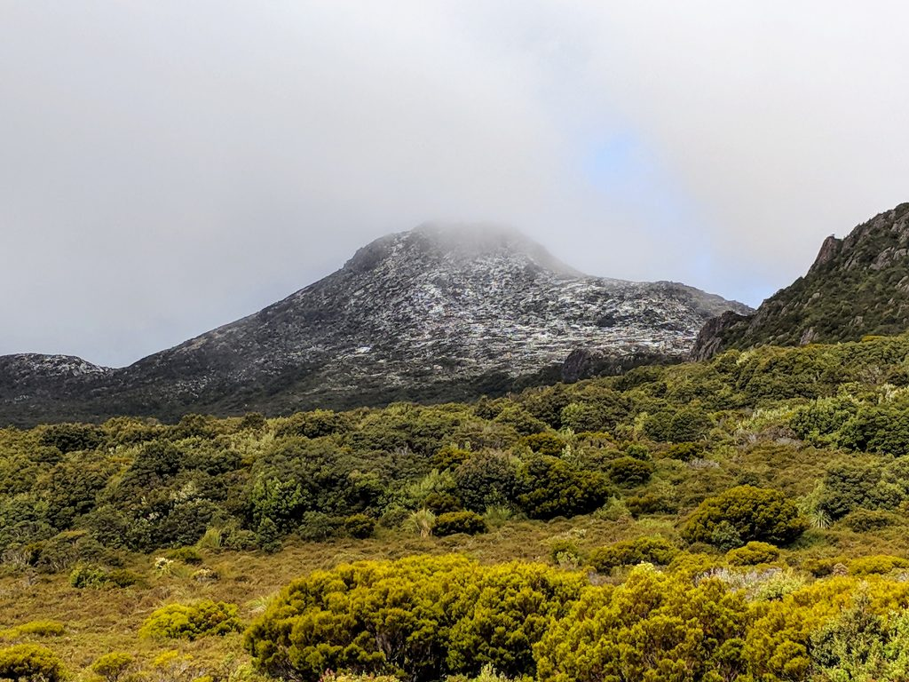 Hartz Peak with a dusting of summer snow. Hartz Peak National park, Tasmania.