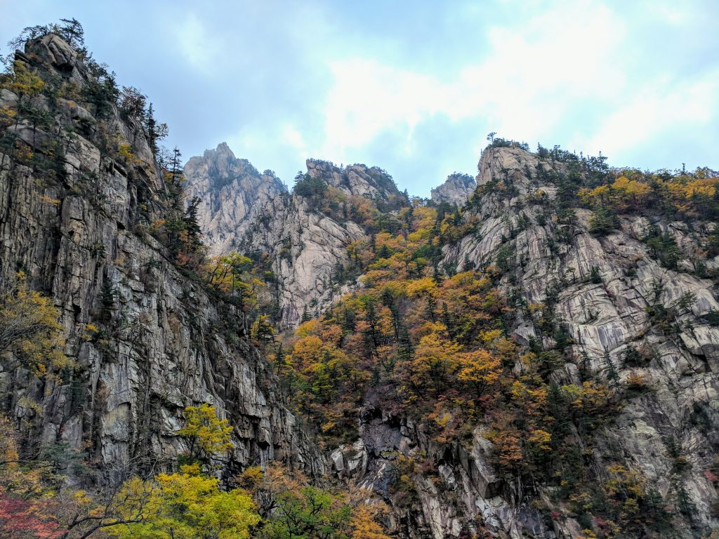 Towering cliffs in Seoraksan National Park, South Korea