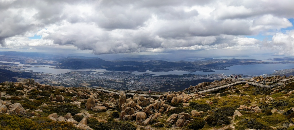 Hobart and the Derwent River Estuary viewed from Mt Wellington