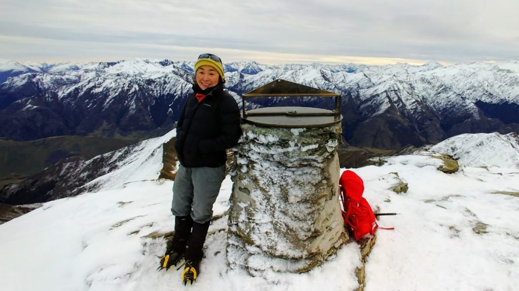 Sophia on the summit fo Ben Lomond NZ July 2018