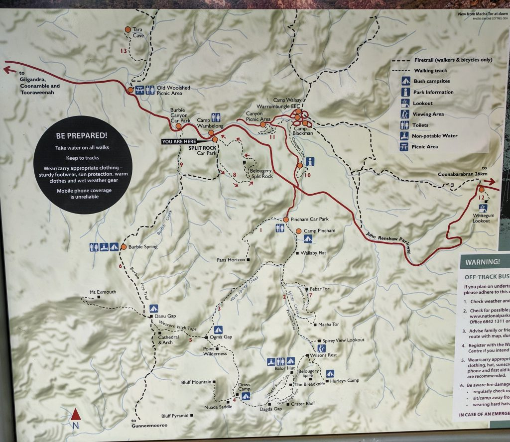 Map of walks in Warrumbungle National Park
