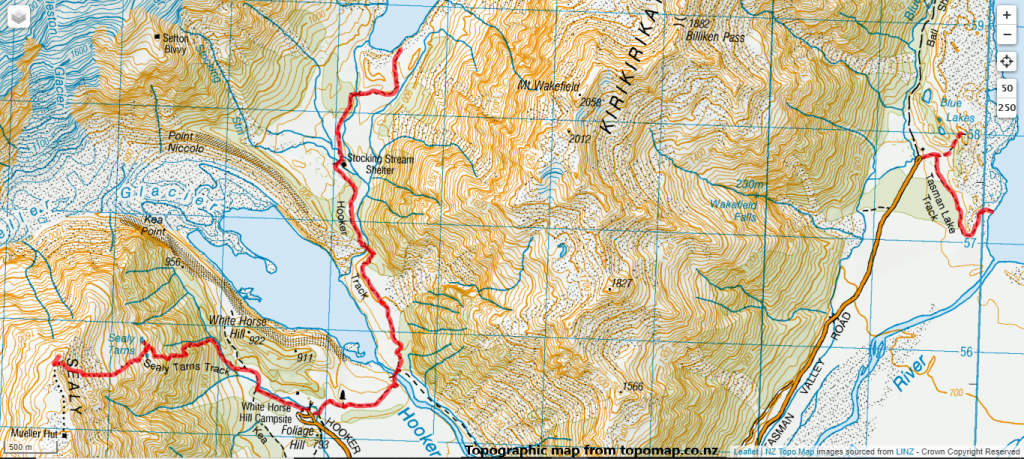 Aoraki Mt Cook Day Walks 2015: Route Map