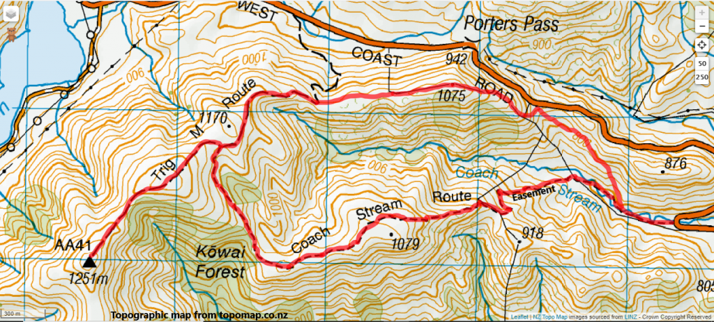 Trig M via Coach Stream Track, Korowai-Torlesse Tussocklands Park Route Map