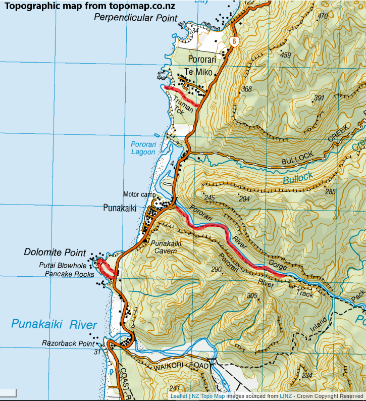 Map of short walks near Punakaiki