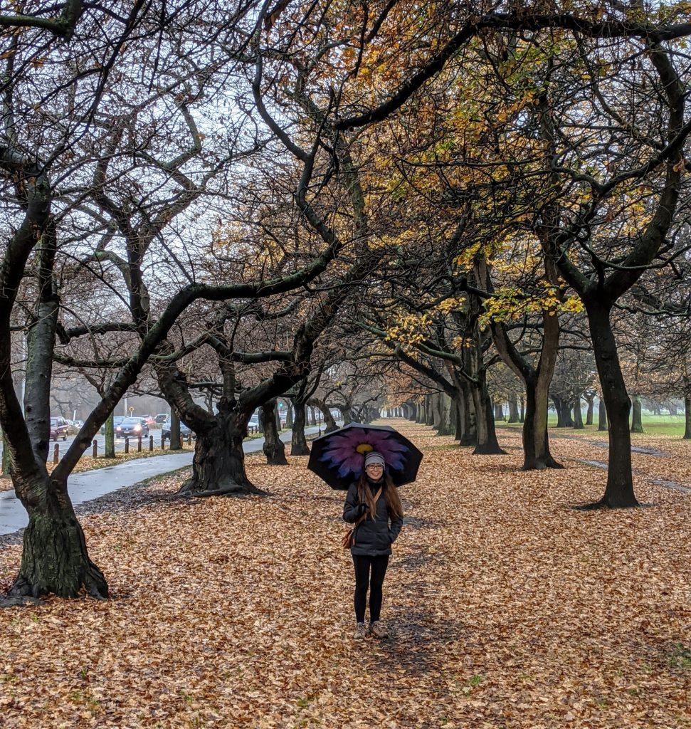Sophia in Hagley Park, Christchurch, late Autumn