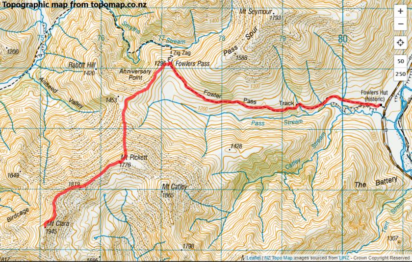 Mt Clara via Fowlers Pass, St James Conservation AreaMt Clara via Fowlers Pass, St James Conservation Area