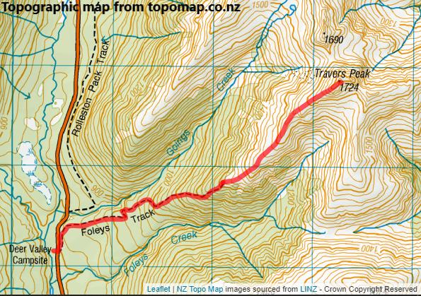 Travers Peak via Foleys Track Route Map